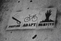 Prepare, Adapt, Survive (matthileo) Tags: blackandwhite bw art bike painting graffiti words stencil paint hand zombie michigan painted text knife msu eastlansing machete stencilart michiganstate prepare adapt survive stencilpainting msugraffiti