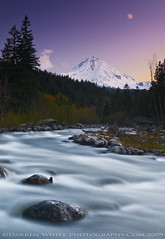 Mount Hood Sunset Moon (Darren White Photography) Tags: trees sunset moon mountain snow ice nature water oregon sunrise river landscape volcano nikon northwest scenic naturalbeauty mounthood hoodriver d300 mounthoodnationalforest oregonwilderness traveloregon oregontravelandtourism