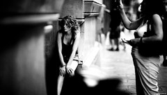 River Was Filled with Stories | 220.365 (Stephan Geyer) Tags: barcelona street woman girl canon hair spain waiting sitting dof sad bokeh candid 5d canon5d vignette canoneos5d project365 8512 85l ef85mmf12lusm canon5dclassic
