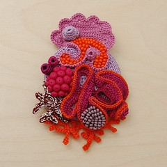 work in progress (part2) (ELINtm) Tags: pink orange coral colorful handmade brooch crochet jewelry jewellery handcrafted accessories colourful delicate crocheted beaded adornment freeform fiberjewelry textilejewellery