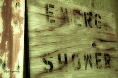 EMERG. SHOWER (likethebirds) Tags: sign signage lettering soop freelightroompresets haroldlloydandthedino presetwhenthehurlyburlyisdone nothinghasemergedyet ifyouaresuperdirtytakeanemergencyshower