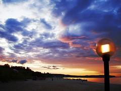 ultra vivid scene (h9ooo-7) Tags: sea sun beach lamp clouds dawn colorfull baltic lampa lamps lampy sopot zachd gdask morze batyk chmury plaa kolorowe batyckie
