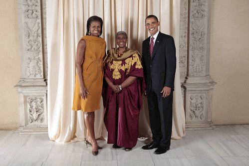 Liberian Foreign Affairs officer with the Obamas