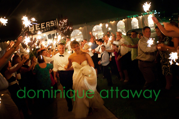 wedding couple send off with sparklers