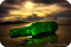 Bottled Poetry (Lel4nd) Tags: sun green beach beer dark leland bottle poetry lee tones hdr guam 671 project365