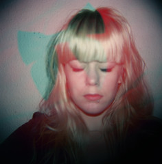 BRB (ingridesign) Tags: red portrait selfportrait green 120 film ingrid me girl face self hair fun holga doubleexposure fringe bow blonde brb closedeyes colourflash goingtolondon