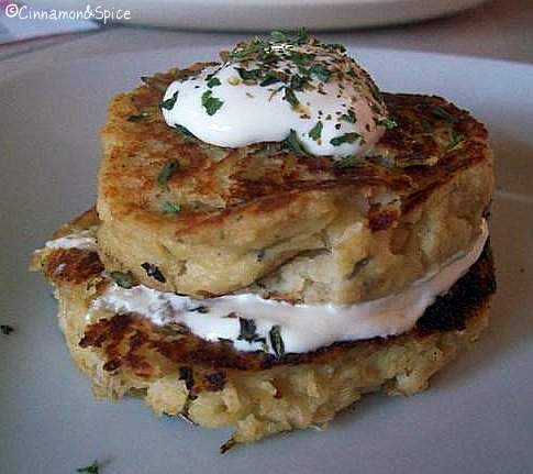 Apple-Cheddar Smashed Potato Pancakes