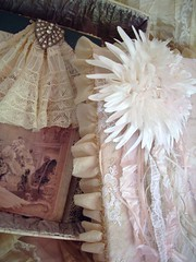 journal & box (skblanks) Tags: life pink white beautiful vintage ruffles antique brooch crochet journal cream silk romantic ribbon chic rhinestone laces taupe millinery shabby