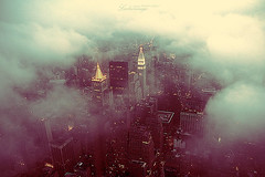 Fog and the city. (ShanLuPhoto) Tags: city nyc newyorkcity usa cloud newyork fog skyline night america buildings lights downtown gloomy overcast empirestatebuilding    loolooimage