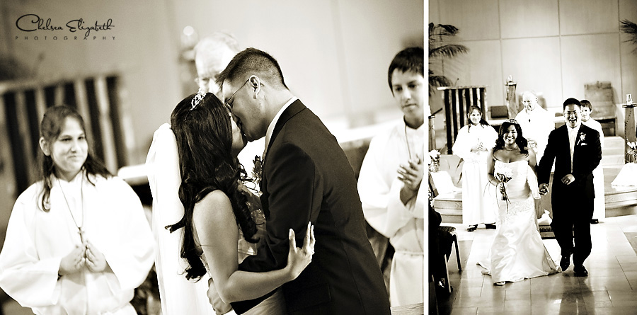 sepia wedding kiss and exit picture