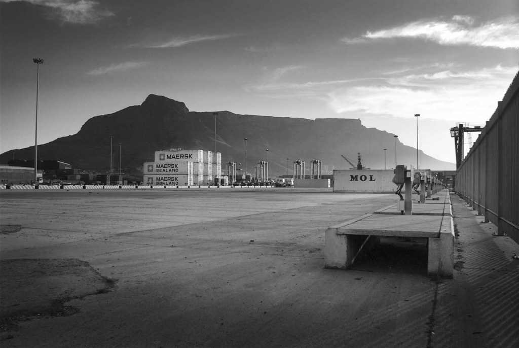 table mountain and shipping port