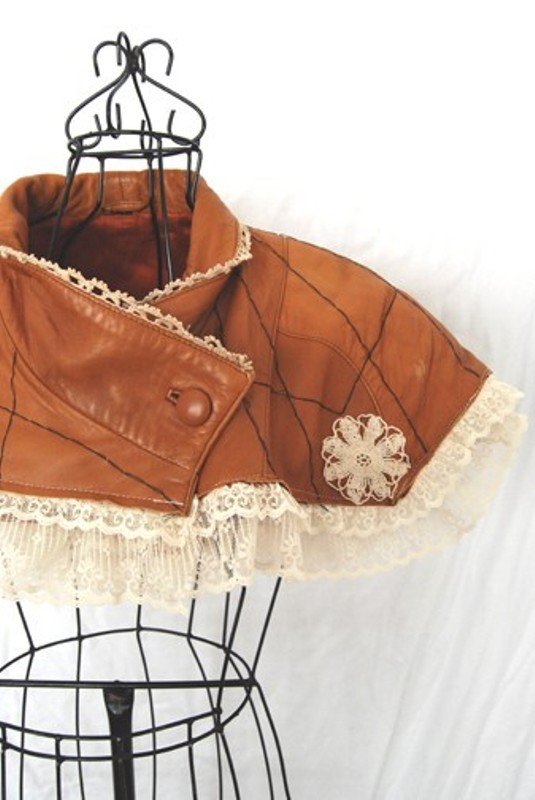 Refashioned Leather and Lace Capelet by Jessamity 1