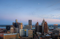 downtown detroit (s o u t h e n) Tags: blue sunset skyline nikon downtown ryan michigan detroit woodward bluehour compuware 2009 hdr highdynamicrange detroitriver guardian penobscot rencen renaissancecenter detroitmichigan downtowndetroit woodwardavenue comericatower detroitskyline photomatix tonemapped southen ryansouthen 5xp d700 nikond700 onedetroit