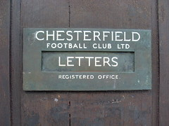 Saltergate postbox Oct. 2009 (darzog27) Tags: football stadium soccer ground postbox recreation chesterfield stadia saltergate