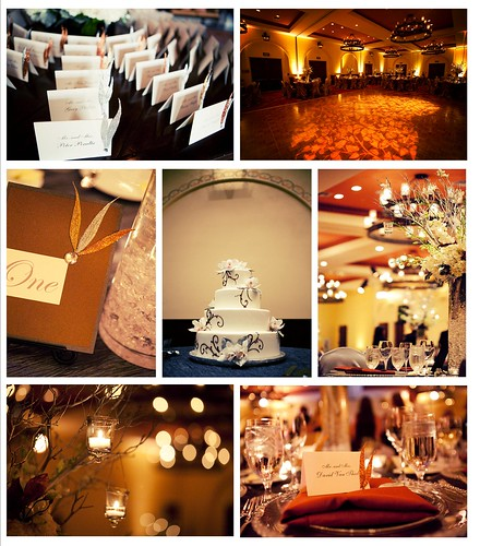 The tall silver Manzanita branch centerpieces were hung with candles that