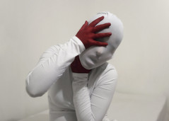 self suffocation (sevgi.k) Tags: red white hand mask fingers tights strangle suffocate sevgik