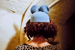 (miss paws) Tags: party woman me hat night 35mm hair mouse curly brunette anonymous solaris leopardskin spanishfilm mouseears backofmyhead cardiga