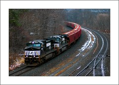 Homewood Junction (Images by A.J.) Tags: railroad winter snow train tren pittsburgh pennsylvania ns norfolk railway trains junction southern pa covered transportation ge homewood bahn treno freight chemin trein hoppers ferrocarril  ferroviario