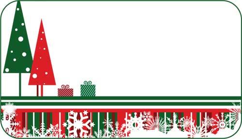Christmas Name Tags: Red And Green Christmas Tree Gift Tags