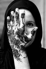 '' Henna'' (jdl_deleon) Tags: portrait bw white black hijab henna tatoo abaya burqa sabaya jdldeleon middleeastshuttersquad