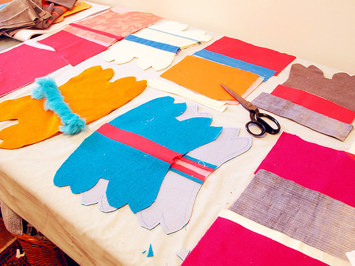 Flurry of cutting and piecing on the work table.