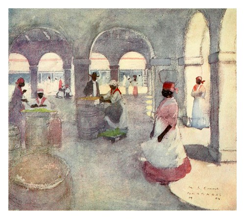 028-Plaza del mercado en Barbados-The West Indies 1905- Ilustrations Archibald Stevenson Forrest