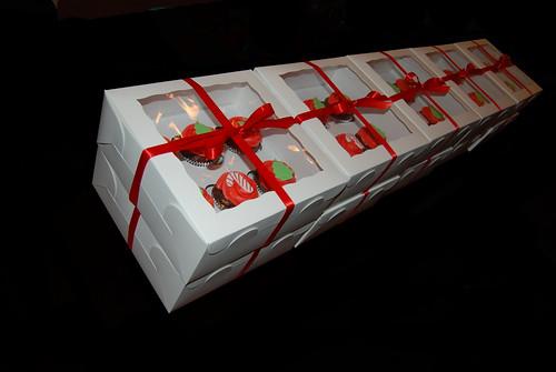 half dozen cupcake gift boxes Christmas designs 10 boxes