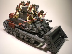 M4A3E8 Sherman w/ Dozer Blade, Infantry & gear (PhiMa') Tags: lego pacific wwii ww2 firefly worldwar2 allied shermantank brickarms dozerblade usamerican