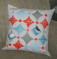 Pillow Swap Pillow 16x16 -Front (Sew-Fantastic) Tags: orange aqua market buttons pillow cover fancy flea fmf cathedralwindows pillowswap