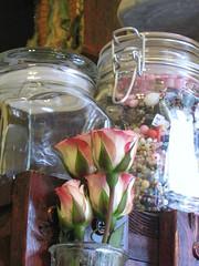 beads and roses (amber leilani) Tags: carnival studio table tools workspace mardigras beadwork vintageglass seedbeads mardigrasbeads beadweaving delicas peyotestitch storagejar cuffbracelets
