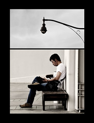 Reading Light (a.m.medina) Tags: light man collage reading diptych streetlamp candid books notblackandwhite bakonawa adrianmedina