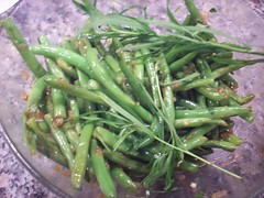 Decorative Tarragon Sprigs with green beans