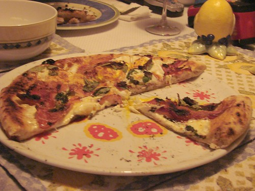 Bianco Pizza with Speck, Sunnyside Up Eggs and Shaved Parmesan