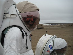 Dr Pascal Lee and Dr Essam Heggy in Hamilton Sundstrand Concept Suits