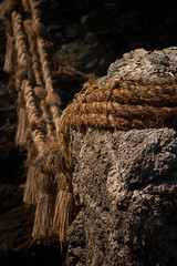 Meoto Iwa #2 (mrlins) Tags: texture japan stone rocks rope 5d rough shinto ise hemp wedded iwa meoto
