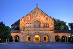 Twilight Glow at Stanford - Site of Steve Jobs' Memorial Service (Jill Clardy) Tags: roof sky church stone night painting tile photography gold golden leaf twilight memorial university glow arch cross mosaic arches quad clear stanford 100views crucifix bluehour 500views palo alto hdr 1000views sfist memchu 0809 photomatix ©2009jillclardy