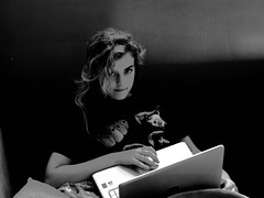 Teen (in natural habitat) (darren bryden) Tags: family girl monochrome shirt laptop teen beatles psecontecrayon