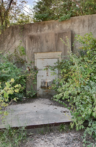 August A. Busch Conservation Area, in Saint Charles County, Missouri, USA - door of World-War II era explosives bunker