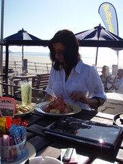 Relaxing with a lobster salad at the Watersplash