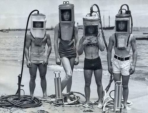 フリー画像| 人物写真| 一般ポートレイト| レトロ| ダイバー/ダイビング|       フリー素材|