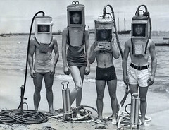 ... four do it yourself divers (x-ray delta one) Tags: old family 1920s history modern vintage magazine advertising 1930s technology geek tech suburban memories suburbia retro nostalgia 1940s americana inventions ww1 populuxe housewife generation thepast thefuture oldfashioned retrotech americanhistory dyi popularscience popularmechanics tommorowland magazineillustration thegreatwar deepseaddiving