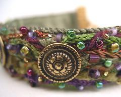 garden green fiber art bracelet (pdlugos) Tags: beads buttons wearableart handsewn fiber
