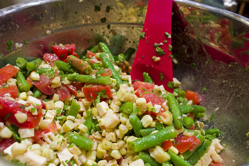 Mixing Green Bean Corn Salad
