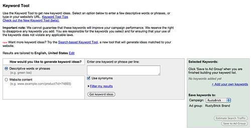 Old AdWords Keyword Tool