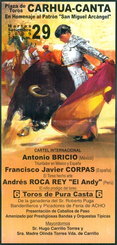 Cartel de corrida de toros en Carhua, Canta