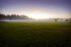 Dreamy Sunrise II (Latyrx) Tags: trees light shadow moon mist 3 nature field fog photoshop sunrise suomi finland landscape photography photo nikon graphic stock perspective sigma finnish nikkor 1020mm sell 70300mm 2009 hdr mikko exposures resize latyrx d90 photomatix nikond90 mikkolagerstedt