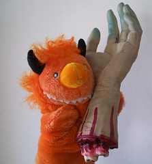 'tis merely a flesh wound (helixdmonster) Tags: orange monster puppets helix handpuppets severedhand creepyhands monsterhandpuppets helixdmonster msh1009 msh100917 tismerelyafleshwound