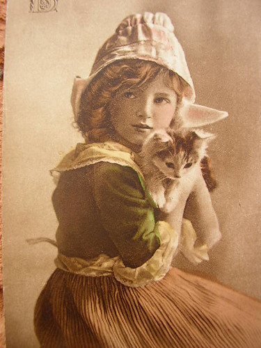 Vintage child with cat. by pollyanna.uk
