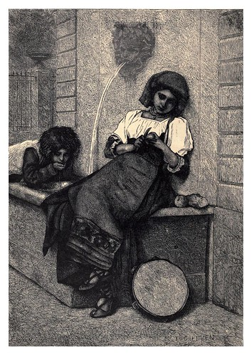 013-la comida de medio día en una calle romana-Italian pictures drawn with pen and pencil 1878