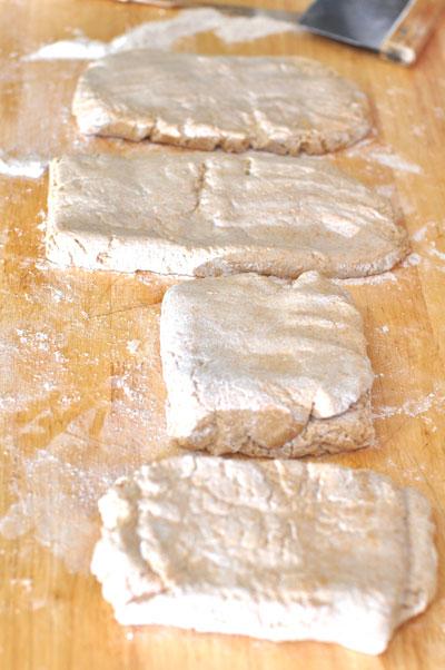 dough divided, moistened, folded